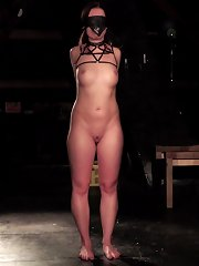 Beauty blindfolded and taken outdoor